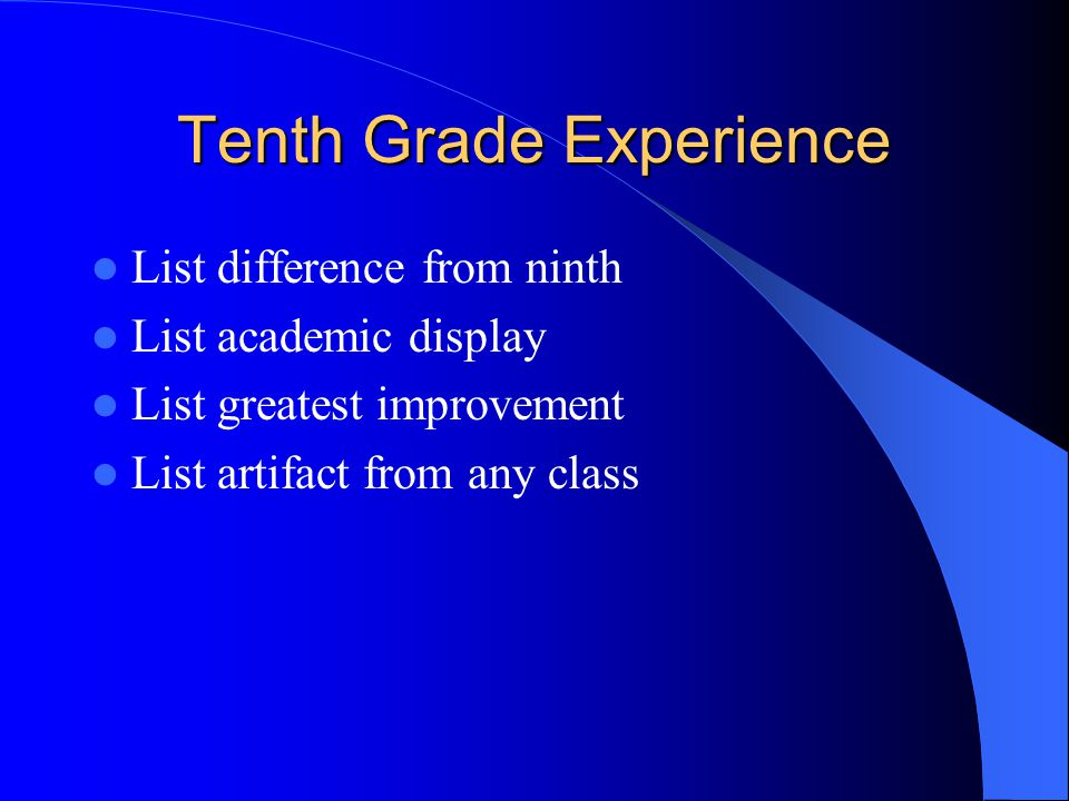 Tenth Grade Experience List difference from ninth List academic display List greatest improvement List artifact from any class