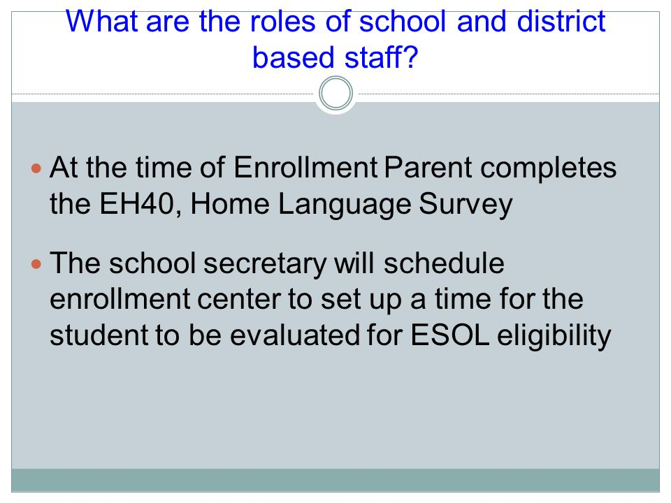 What are the roles of school and district based staff.