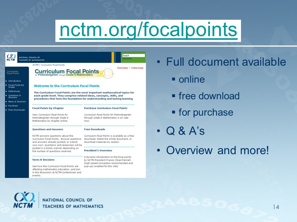 14 nctm.org/focalpoints Full document available  online  free download  for purchase Q & A's Overview and more!