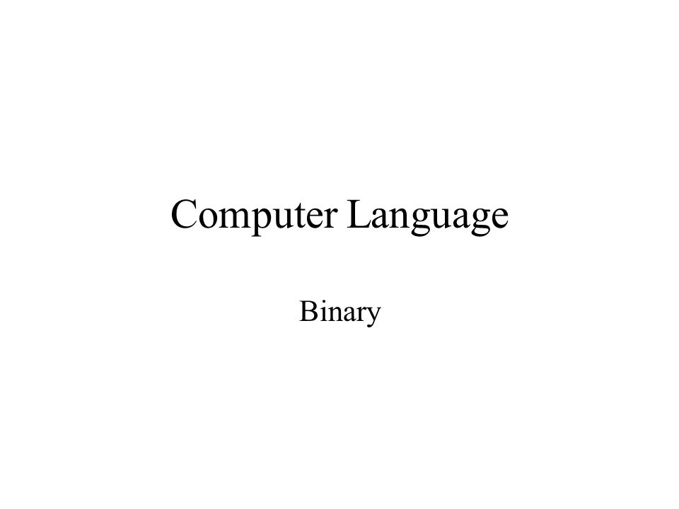 Computer Language Binary