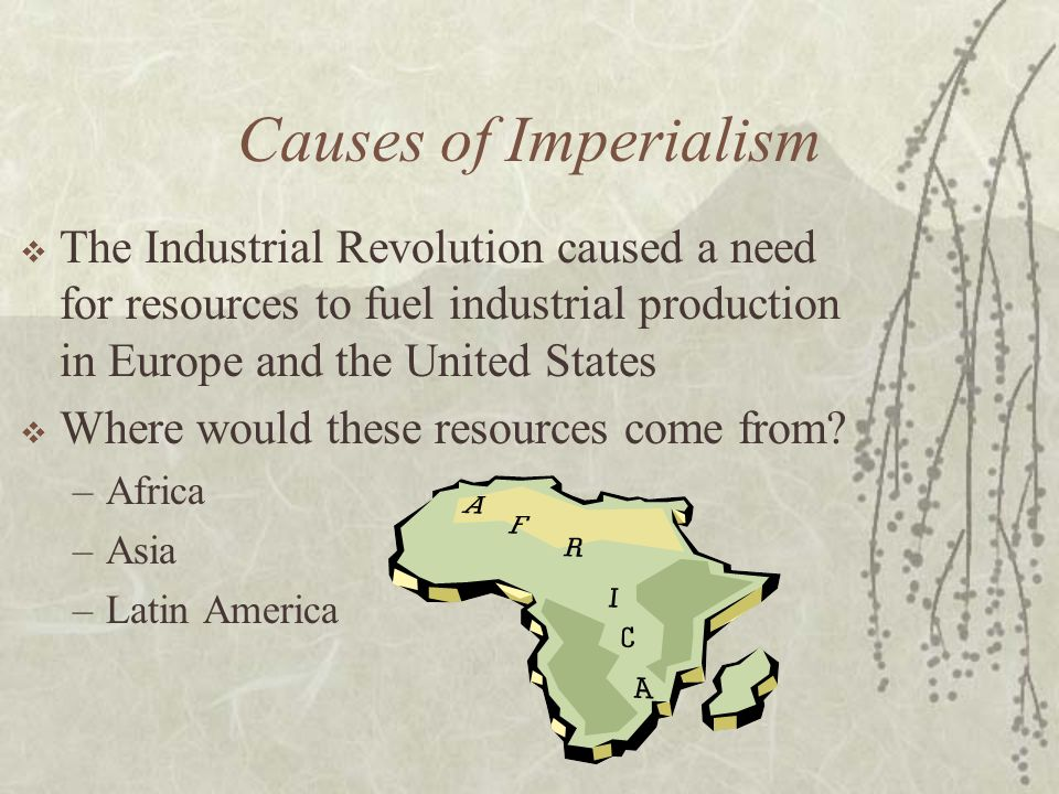 Causes of Imperialism  The Industrial Revolution caused a need for resources to fuel industrial production in Europe and the United States  Where wo