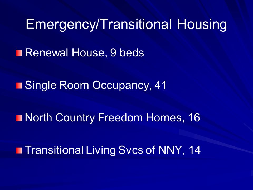 Emergency/Transitional Housing Renewal House, 9 beds Single Room Occupancy, 41 North Country Freedom Homes, 16 Transitional Living Svcs of NNY, 14