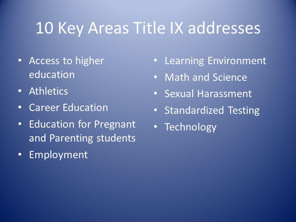 10 Key Areas Title IX addresses Access to higher education Athletics Career Education Education for Pregnant and Parenting students Employment Learning Environment Math and Science Sexual Harassment Standardized Testing Technology