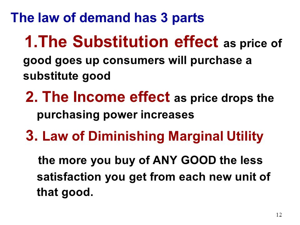 The law of demand has 3 parts 1.The Substitution effect as price of good goes up consumers will purchase a substitute good 2. The Income effect as pri