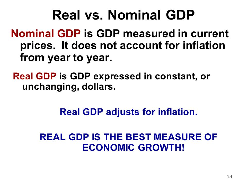 Real vs. Nominal GDP Nominal GDP is GDP measured in current prices. It does not account for inflation from year to year. Real GDP is GDP expressed in