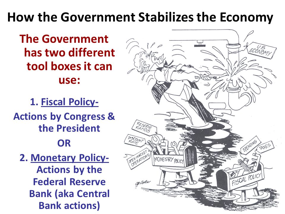 How the Government Stabilizes the Economy The Government has two different tool boxes it can use: 1. Fiscal Policy- Actions by Congress & the Presiden