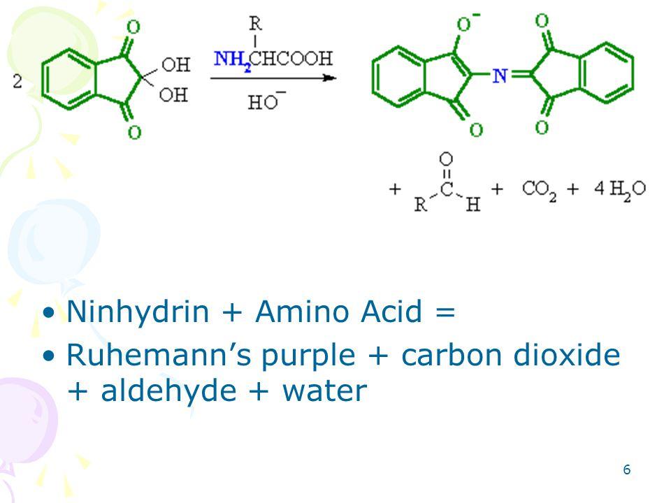 6 Ninhydrin + Amino Acid = Ruhemann's purple + carbon dioxide + aldehyde + water