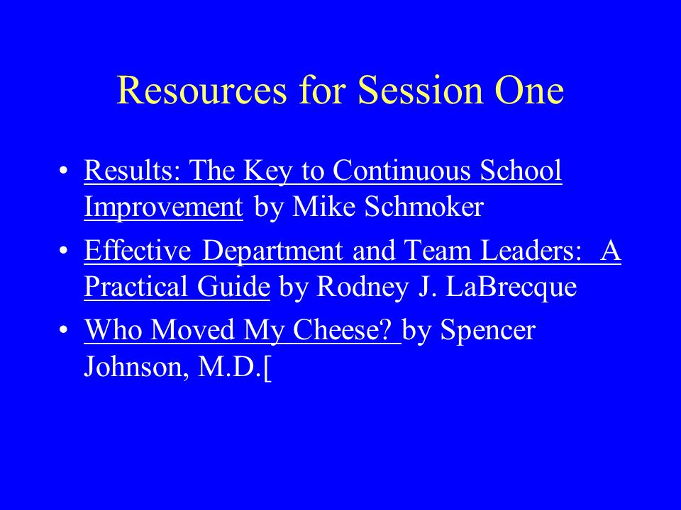 Resources for Session 3 Systematic approach to budgeting based on Schmoker/School Improvement Plan Effective Department and Team Leaders: A Practical Guide by Rodney J.
