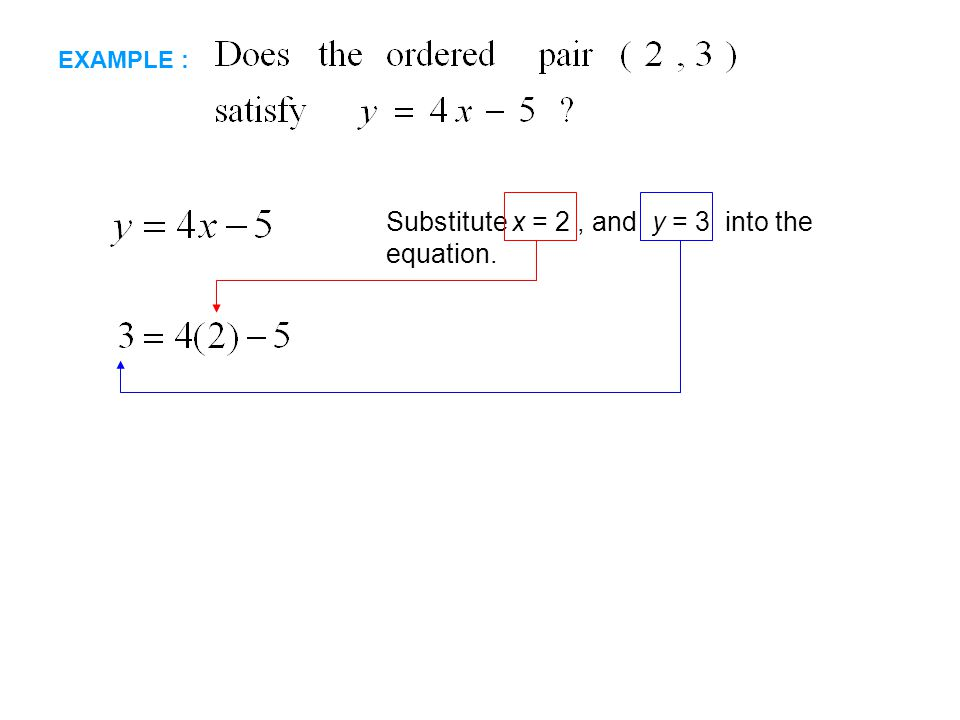 EXAMPLE : Substitute x = 2, and y = 3 into the equation.