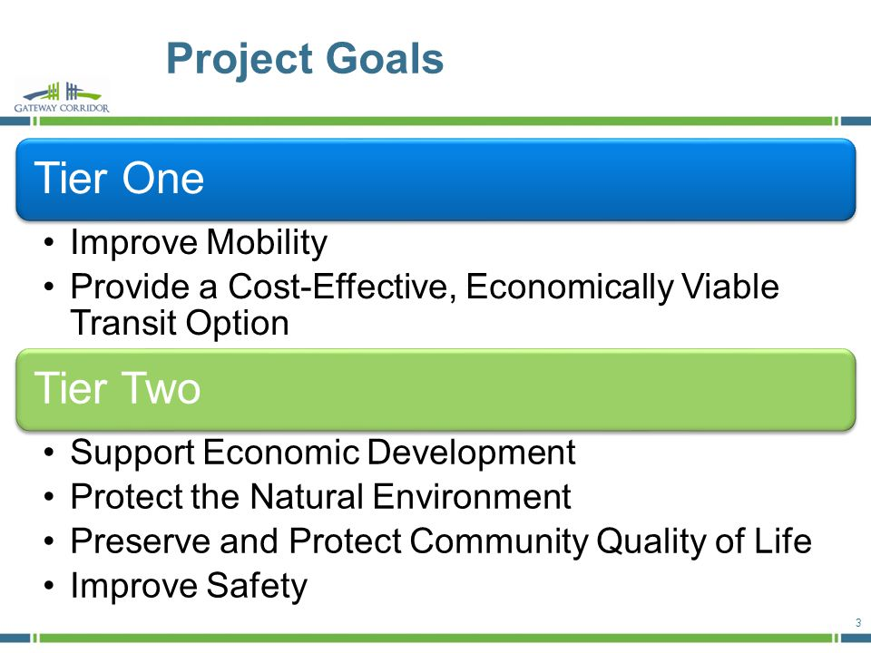 Project Goals 3 Tier One Improve Mobility Provide a Cost-Effective, Economically Viable Transit Option Tier Two Support Economic Development Protect the Natural Environment Preserve and Protect Community Quality of Life Improve Safety