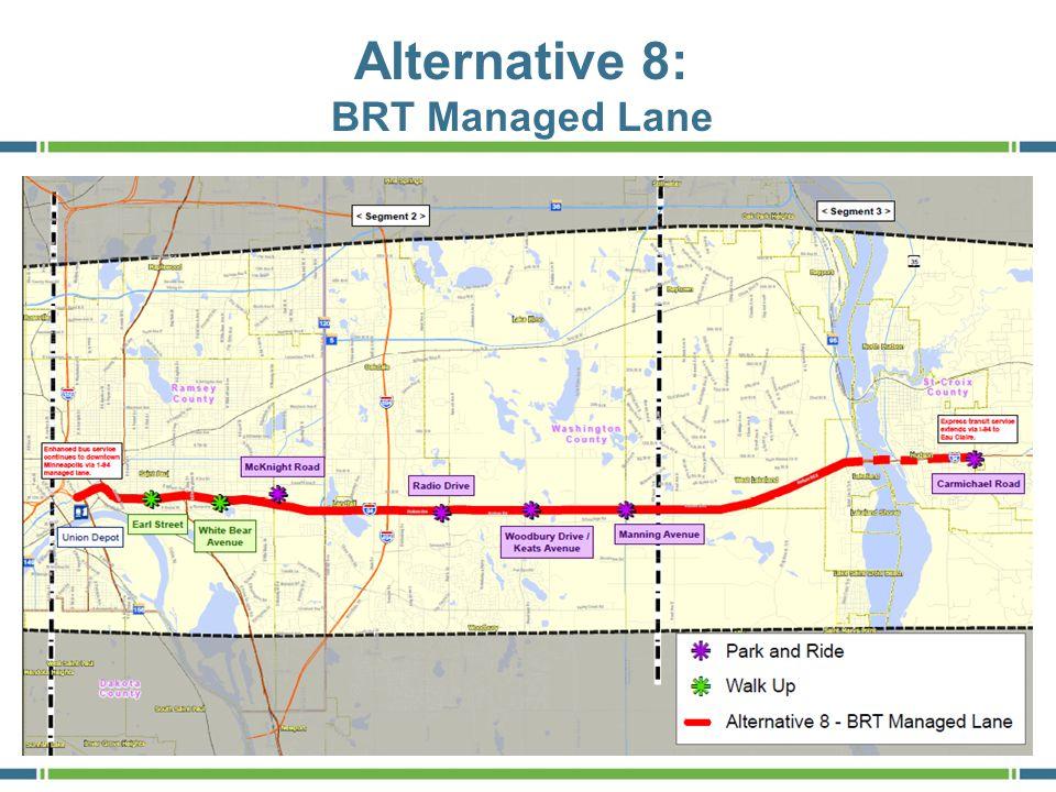 Preliminary Ranking of Alternatives – March 2012 8 AlternativeRanking BRT along Hudson Rd/I-94 (Alt 3) HIGH BRT Managed Lane (Alt 8) HIGH LRT along Hudson Rd/I-94 (Alt 5) MEDIUM TSM (Alt 2) MEDIUM LRT along St.