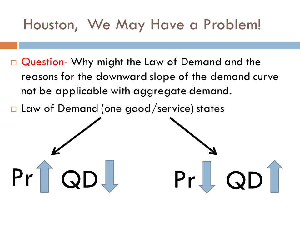 Houston, We May Have a Problem!  Question- Why might the Law of Demand and the reasons for the downward slope of the demand curve not be applicable w