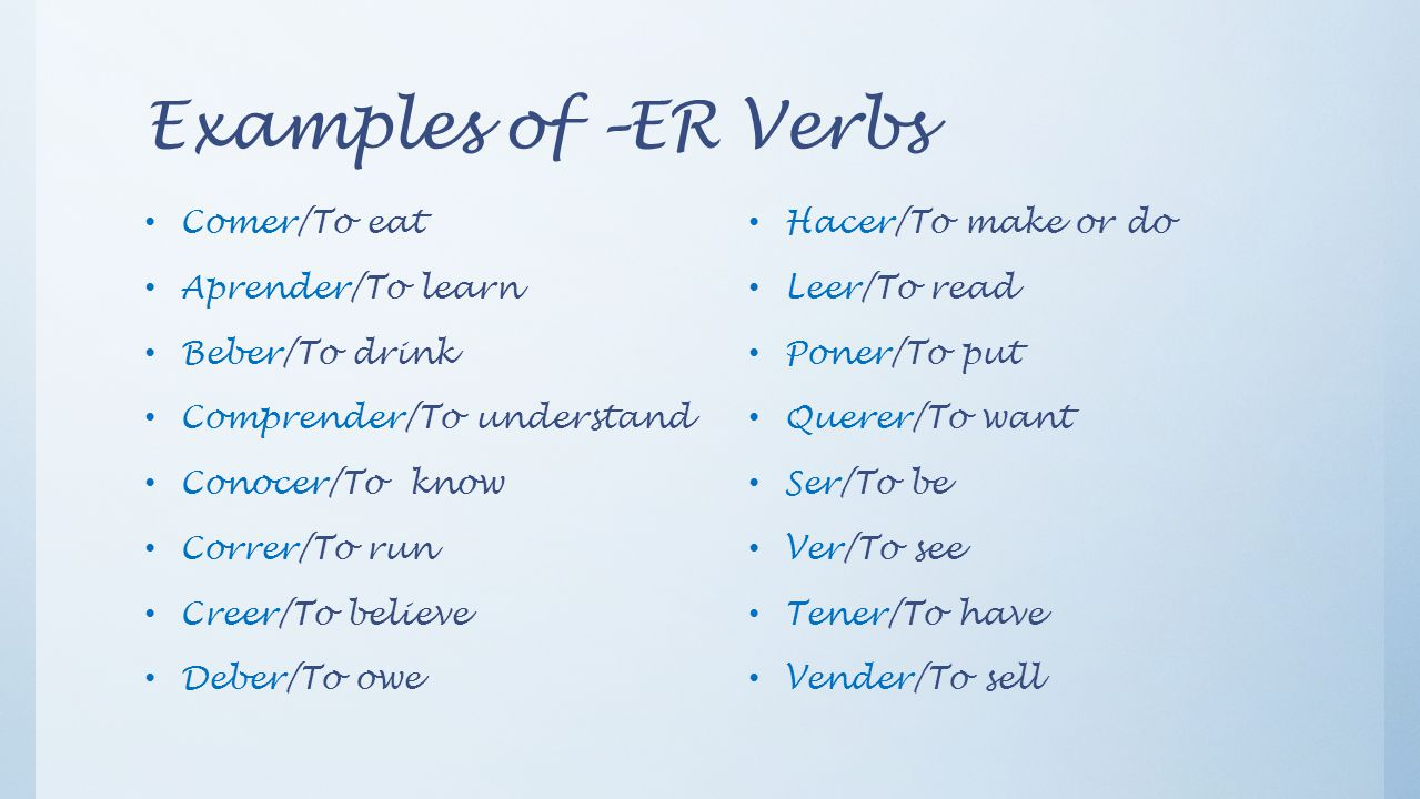 Examples of –ER Verbs Comer/To eat Aprender/To learn Beber/To drink Comprender/To understand Conocer/To know Correr/To run Creer/To believe Deber/To owe Hacer/To make or do Leer/To read Poner/To put Querer/To want Ser/To be Ver/To see Tener/To have Vender/To sell