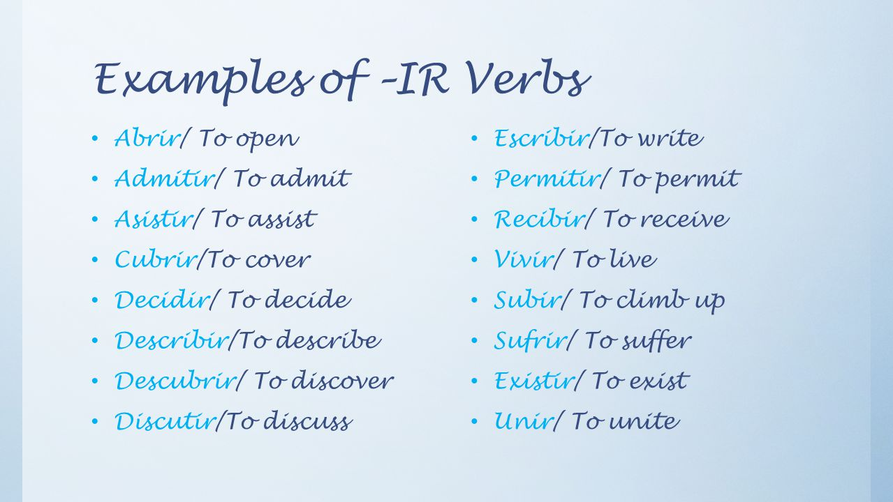 Examples of –IR Verbs Abrir/ To open Admitir/ To admit Asistir/ To assist Cubrir/To cover Decidir/ To decide Describir/To describe Descubrir/ To discover Discutir/To discuss Escribir/To write Permitir/ To permit Recibir/ To receive Vivir/ To live Subir/ To climb up Sufrir/ To suffer Existir/ To exist Unir/ To unite