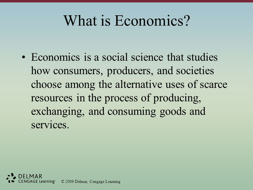 © 2009 Delmar, Cengage Learning Mixed Economic Systems Most societies reflect multiple aspects of different economic structures, thus being a mixed economy.