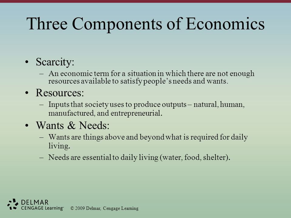 © 2009 Delmar, Cengage Learning Types of Resources Natural Resources (Land) Human Resources (Labor) Manufactured Resources (Capital) Entrepreneurship (Management) –Goods and Services