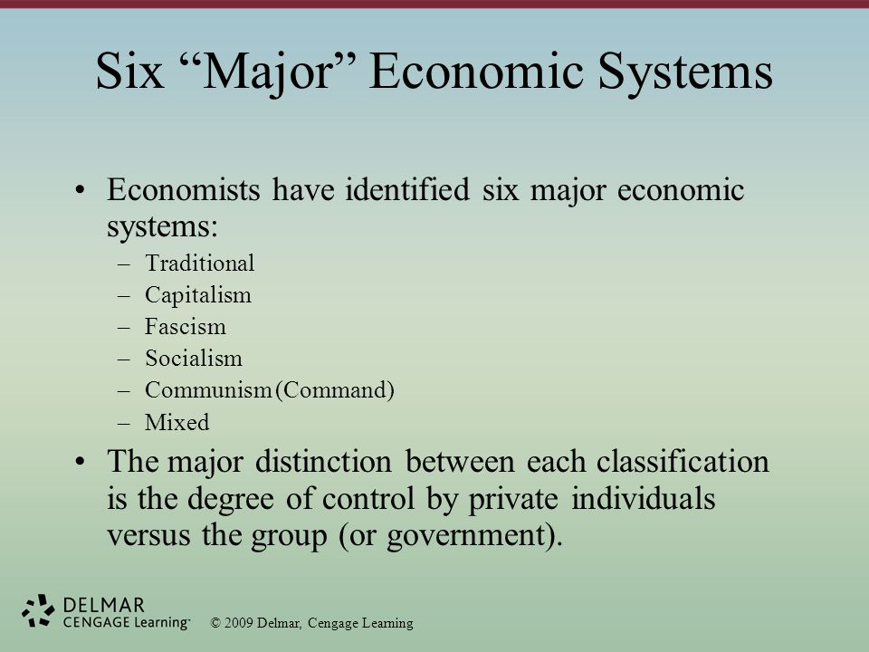 © 2009 Delmar, Cengage Learning Free Enterprise Free enterprise – economic system that allows individuals to organize and conduct business with a minimum of government control; individuals privately own what they produce.