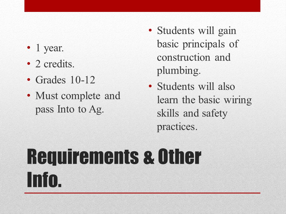 Requirements & Other Info. 1 year. 2 credits. Grades 10-12 Must complete and pass Into to Ag.