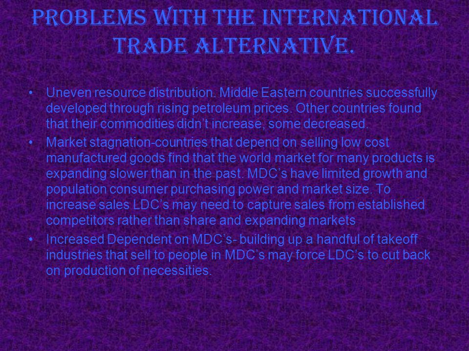 Problems with the International Trade Alternative.