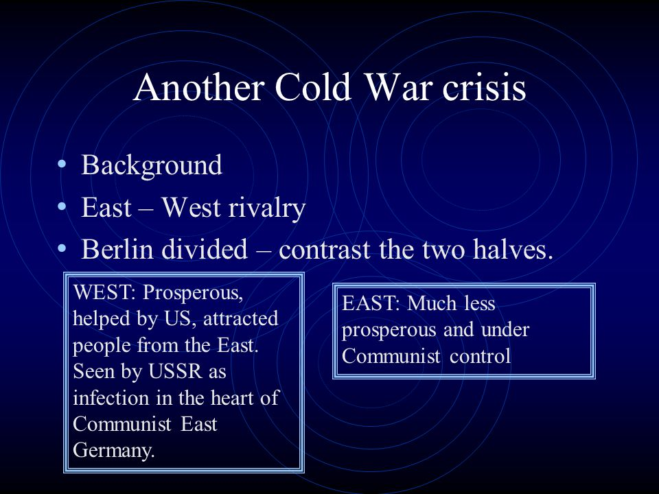 Another Cold War crisis Background East – West rivalry Berlin divided – contrast the two halves.