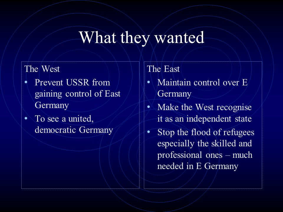 What they wanted The West Prevent USSR from gaining control of East Germany To see a united, democratic Germany The East Maintain control over E Germany Make the West recognise it as an independent state Stop the flood of refugees especially the skilled and professional ones – much needed in E Germany