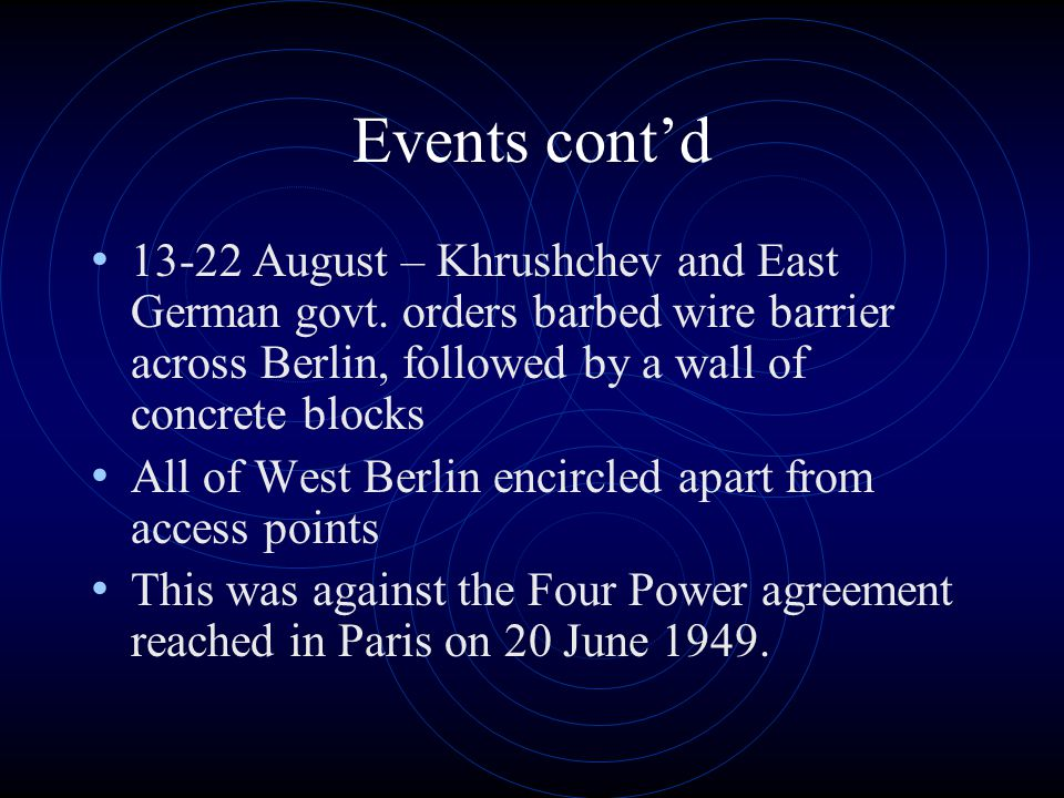 Events cont'd 13-22 August – Khrushchev and East German govt.