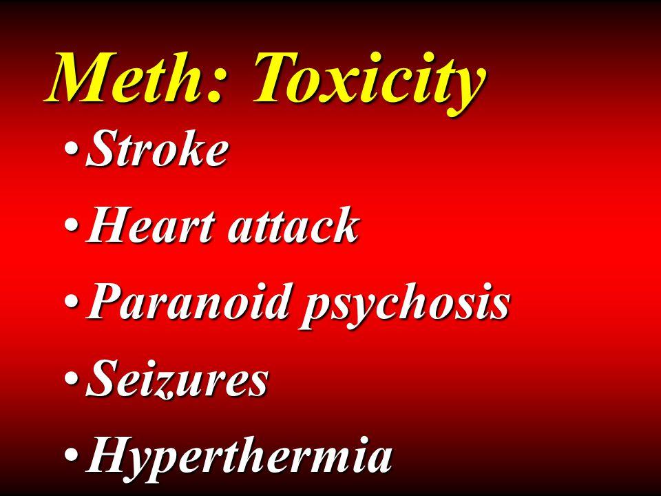 StrokeStroke Heart attackHeart attack Paranoid psychosisParanoid psychosis SeizuresSeizures HyperthermiaHyperthermia Meth: Toxicity