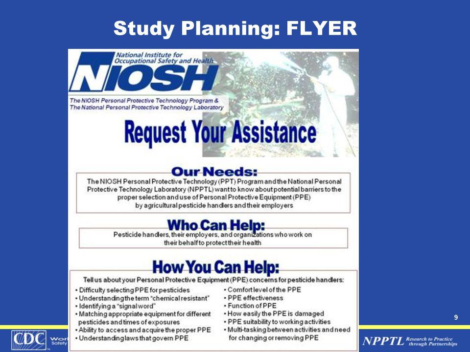 10 Study Planning: PPE regulations  EPA WPS:  40 CFR 170.170.7, 170.240(c), 170.232 (a)(2), 170.230.b.1  Certification of Pesticide Applicators: 40 CFR 171  Labeling Requirements for Pesticides: 40CFR 156  OSHA Standard for Agriculture: 29 CFR 1928  OSHA PPE standards: 29CFR 1910.132- 1910.136, and 1910.138