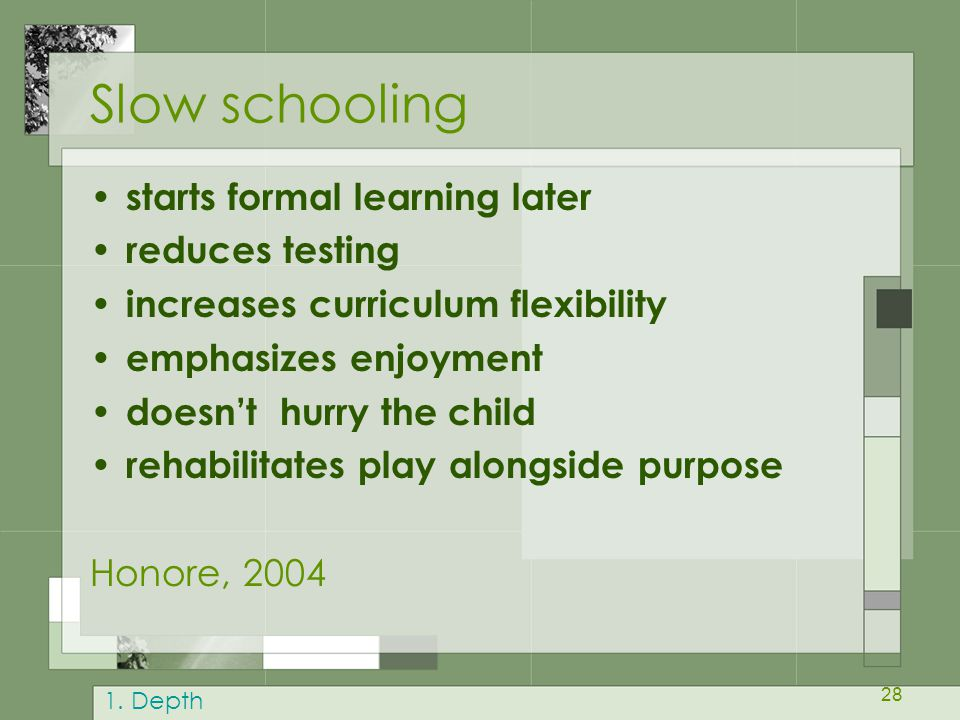 28 Slow schooling starts formal learning later reduces testing increases curriculum flexibility emphasizes enjoyment doesn't hurry the child rehabilit