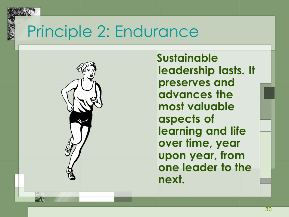 30 Principle 2: Endurance Sustainable leadership lasts. It preserves and advances the most valuable aspects of learning and life over time, year upon