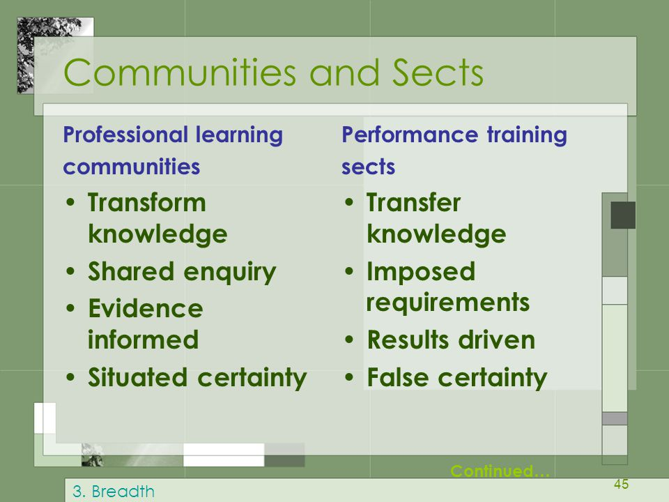 45 Communities and Sects Professional learning communities Transform knowledge Shared enquiry Evidence informed Situated certainty Performance trainin
