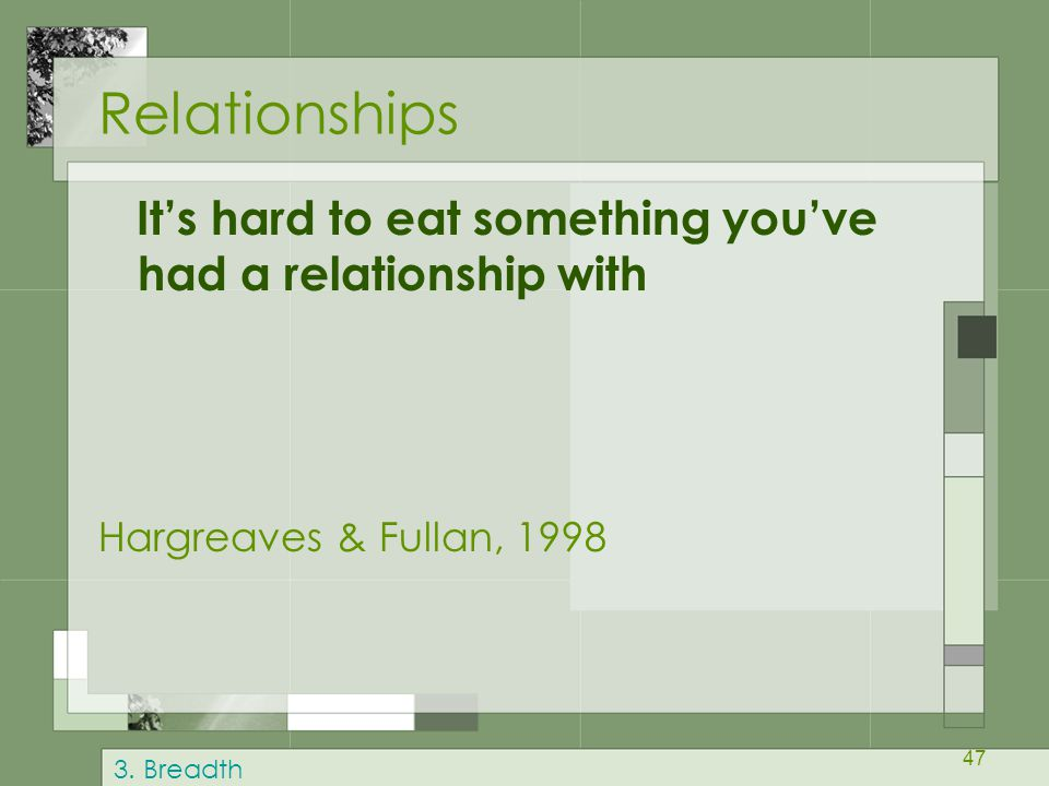 47 Relationships It's hard to eat something you've had a relationship with Hargreaves & Fullan, 1998 3. Breadth