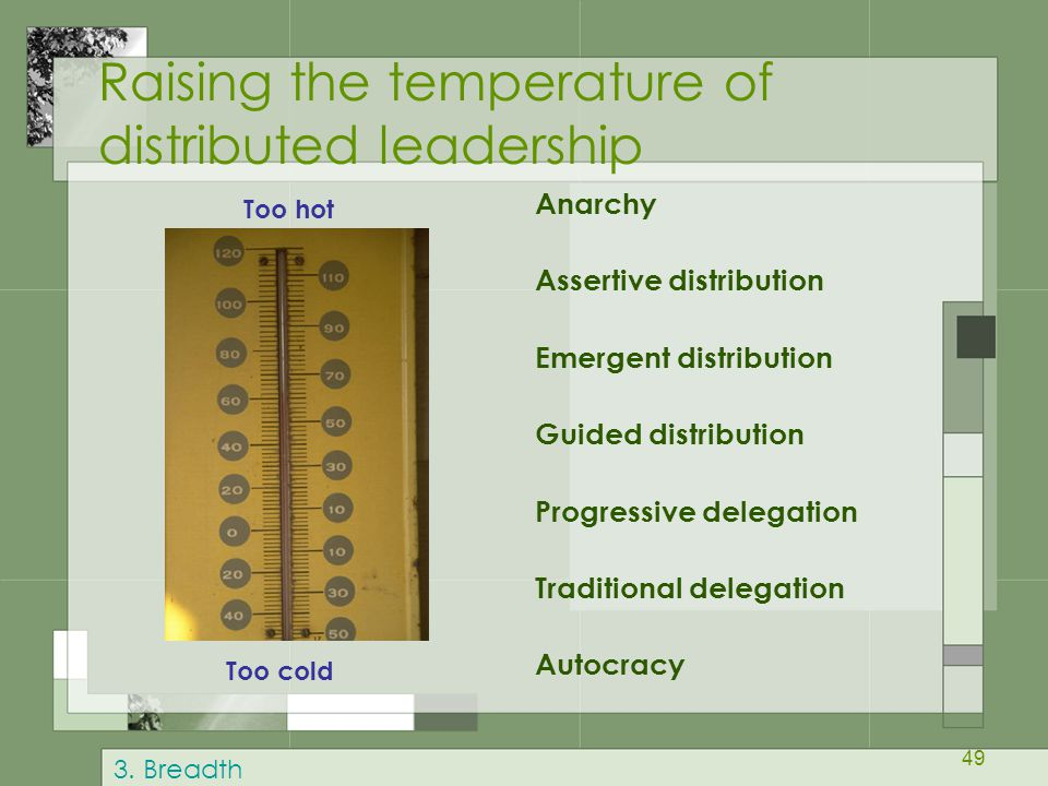49 Raising the temperature of distributed leadership Anarchy Assertive distribution Emergent distribution Guided distribution Progressive delegation Traditional delegation Autocracy Too hot Too cold 3.