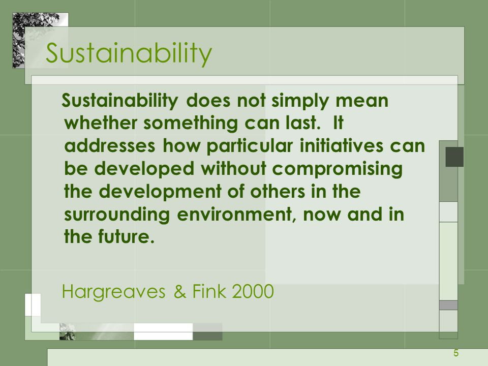 5 Sustainability Sustainability does not simply mean whether something can last. It addresses how particular initiatives can be developed without comp