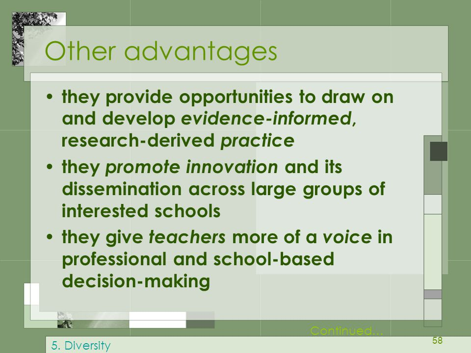 58 Other advantages they provide opportunities to draw on and develop evidence-informed, research-derived practice they promote innovation and its dis