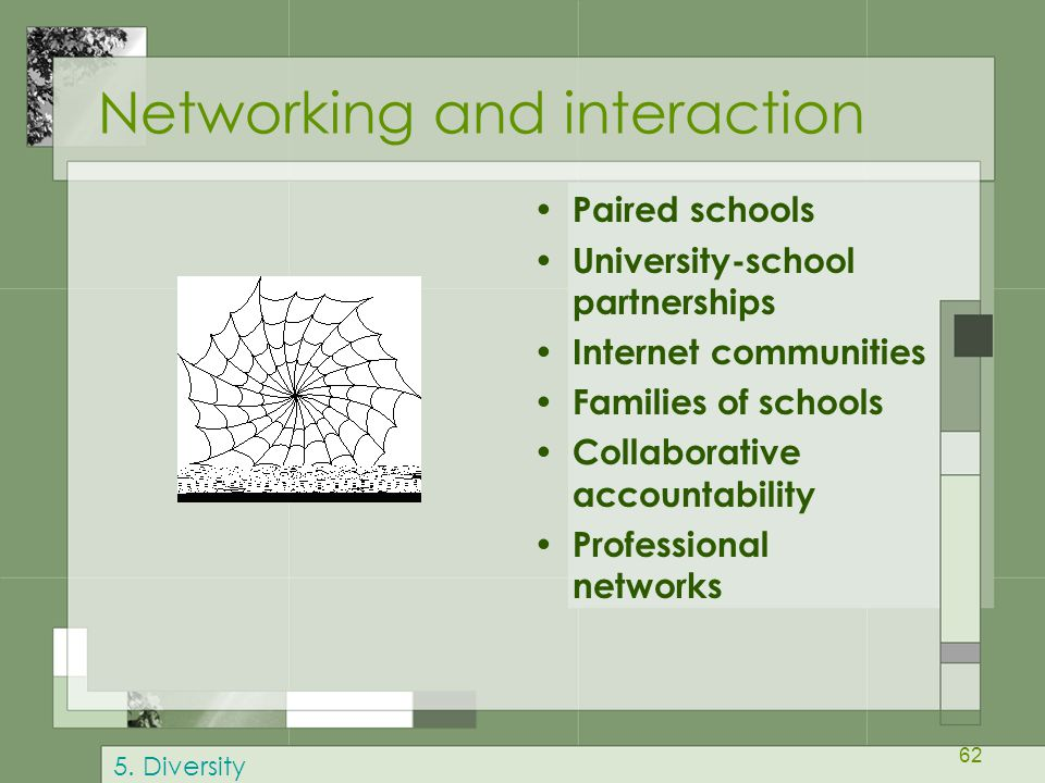 62 Networking and interaction Paired schools University-school partnerships Internet communities Families of schools Collaborative accountability Professional networks 5.