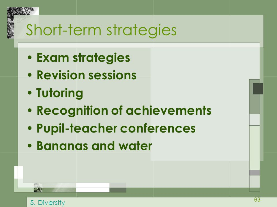 63 Short-term strategies Exam strategies Revision sessions Tutoring Recognition of achievements Pupil-teacher conferences Bananas and water 5. Diversi