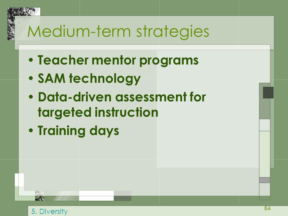 64 Medium-term strategies Teacher mentor programs SAM technology Data-driven assessment for targeted instruction Training days 5. Diversity