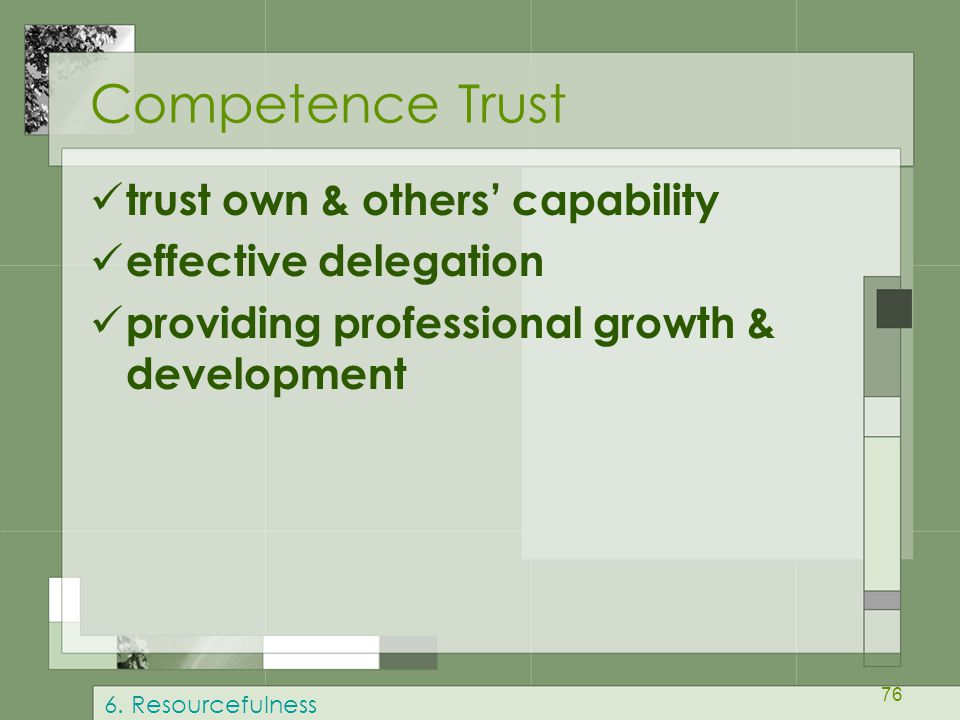 76 Competence Trust trust own & others' capability effective delegation providing professional growth & development 6.
