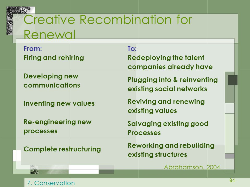 84 Creative Recombination for Renewal From: Firing and rehiring Developing new communications Inventing new values Re-engineering new processes Comple