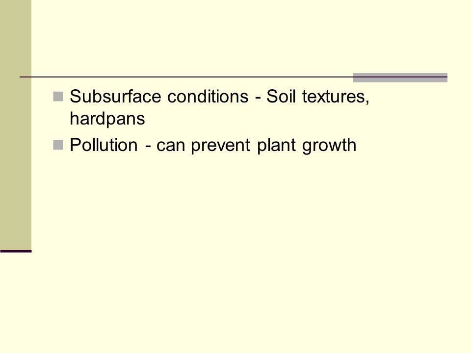 Major Characteristics of Cropland Soil - Large impact on productivity. Soil texture, nutrients and internal structure Climate - average of water condi