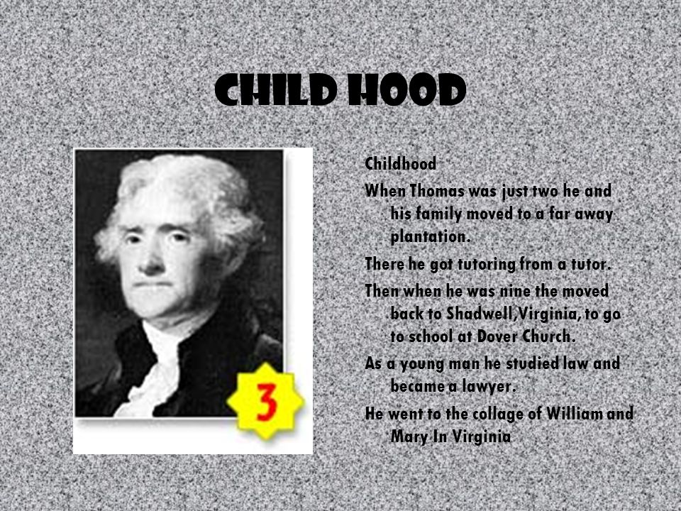 All About Him Cool Facts Thomas Jefferson was the third president.
