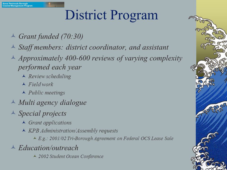 Key Terms Coastal District Program 1990 Program Document and Summary Document Enforceable Policies Administrative Policies 1992 Port Graham/Nanwalek Area Meriting Special Attention Division of Governmental Coordination Consistency Review DGC coordinated review Single agency coordinated review