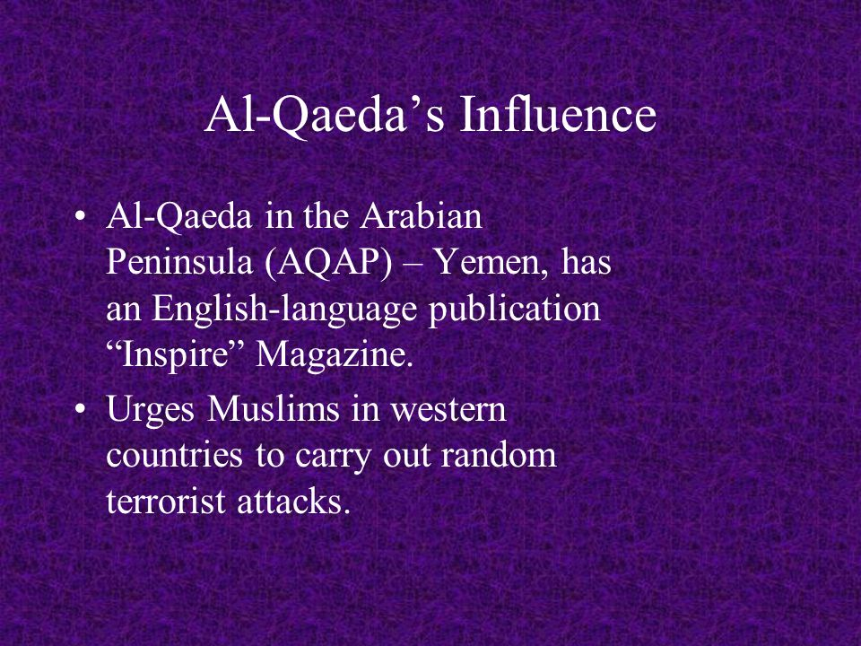 Al-Qaeda Threat FBI Director Robert Mueller explains that groups and individuals inspired by Al-Qaeda are switching to smaller scale attacks.