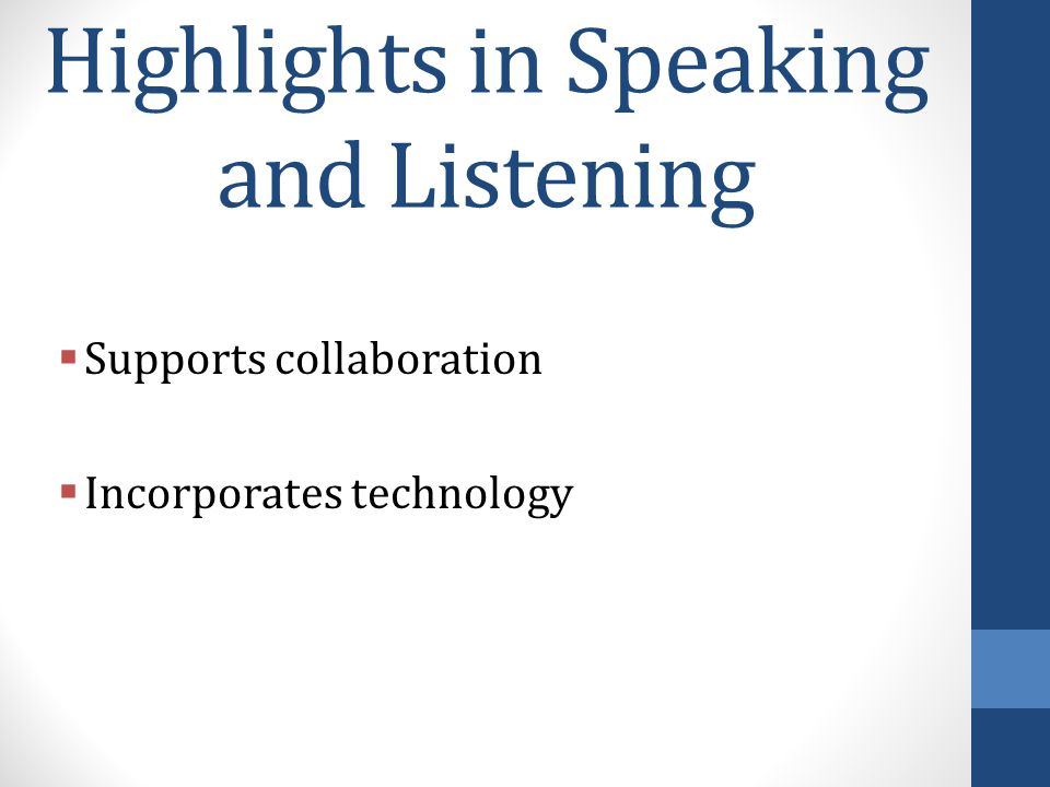 Highlights in Speaking and Listening  Supports collaboration  Incorporates technology