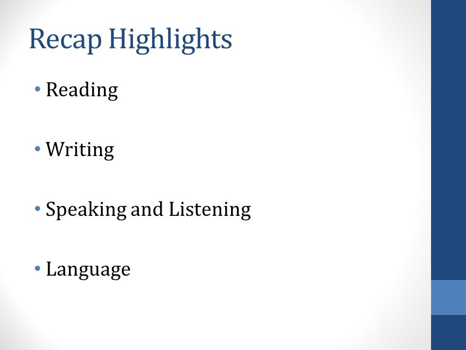 Recap Highlights Reading Writing Speaking and Listening Language