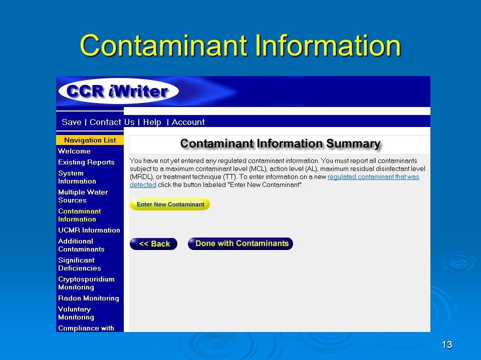 Contaminant Information 13