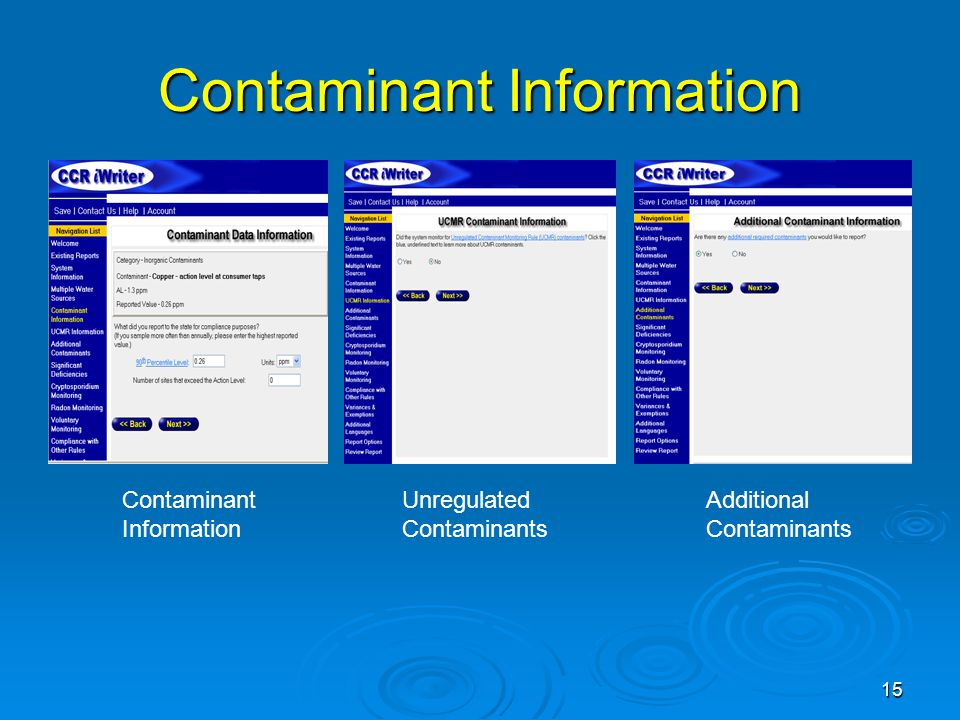 Contaminant Information Contaminant Information Unregulated Contaminants Additional Contaminants 15