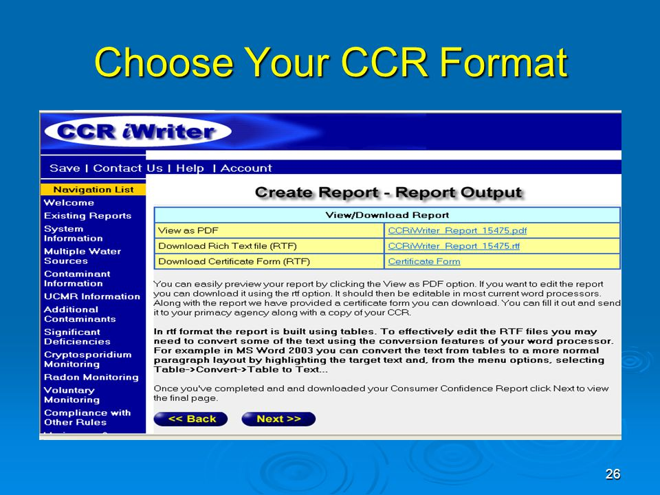 Choose Your CCR Format 26
