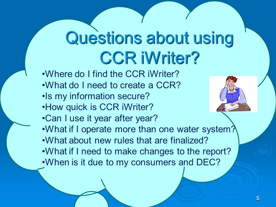 Questions about using CCR iWriter. Where do I find the CCR iWriter.